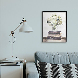 Stupell Industries  Delicate White Florals on Parisian Bookstack, 24 x 30, Framed Wall Art, Off White, rollover