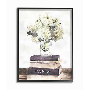 Stupell Industries  Delicate White Florals on Parisian Bookstack, 24 x 30, Framed Wall Art, Off White, large