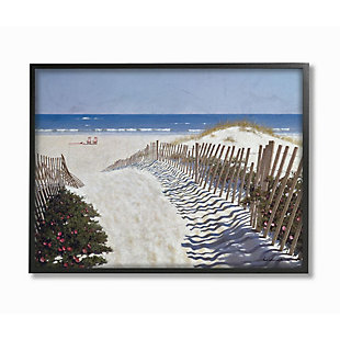 Stupell Industries Fenced Pathway To Beach Summer Nautical Painting, 24 X 30, Framed Wall Art, Multi, large