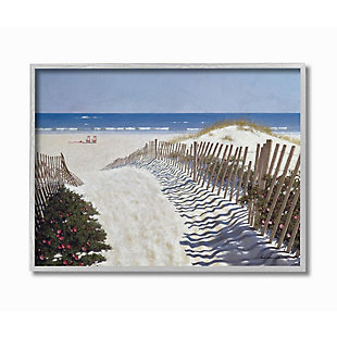 Stupell Industries  Fenced Pathway to Beach Summer Nautical Painting, 16 x 20, Framed Wall Art, Multi, large