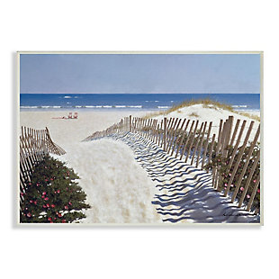 Stupell Industries  Fenced Pathway to Beach Summer Nautical Painting, 13 x 19, Wood Wall Art, Multi, large