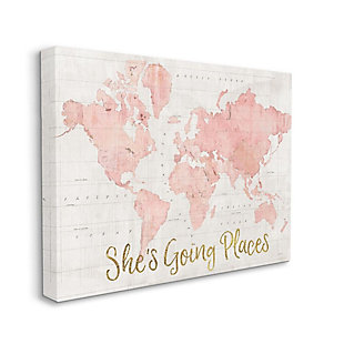 Stupell Industries  She's Going Places Quote Pink Watercolor World Map, 36 x 48, Canvas Wall Art, Beige, large