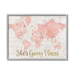 Stupell Industries  She's Going Places Quote Pink Watercolor World Map, 16 x 20, Framed Wall Art, Beige, large