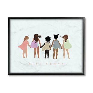 Stupell Industries  Girl Power Phrase Inclusive Caped Superheroes, 24 x 30, Framed Wall Art, Green, large