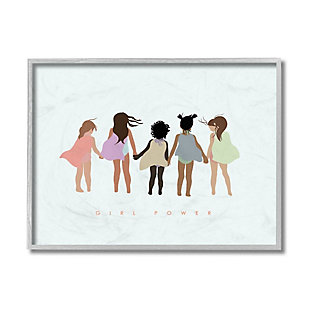 Stupell Industries  Girl Power Phrase Inclusive Caped Superheroes, 16 x 20, Framed Wall Art, Green, large