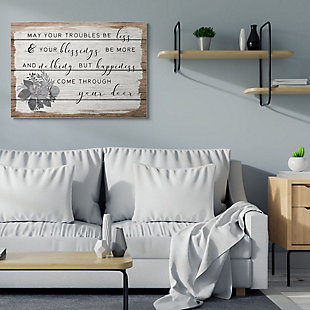 Stupell Industries  Charming Troubles Be Less Phrase Country Floral Detail, 36 x 48, Canvas Wall Art, Brown, rollover