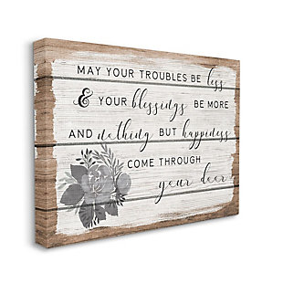 Stupell Industries  Charming Troubles Be Less Phrase Country Floral Detail, 36 x 48, Canvas Wall Art, Brown, large