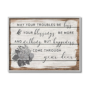Stupell Industries  Charming Troubles Be Less Phrase Country Floral Detail, 16 x 20, Framed Wall Art, Brown, large