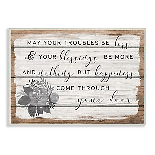 Stupell Industries  Charming Troubles Be Less Phrase Country Floral Detail, 13 x 19, Wood Wall Art, Brown, large