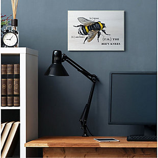 Stupell Industries  Anatomy of Honey Bee Pun Charming Bee's Knees, 13 x 19, Wood Wall Art, Off White, rollover