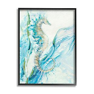 Stupell Industries Nautical Seahorse Blue Fluid Ocean Water, 24 X 30, Framed Wall Art, Blue, large