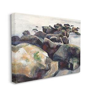 Stupell Industries Softened Beach Rocks Nautical Coast Line, 36 X 48, Canvas Wall Art, Multi, large