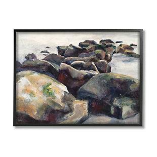 Stupell Industries Softened Beach Rocks Nautical Coast Line, 24 X 30, Framed Wall Art, Multi, large