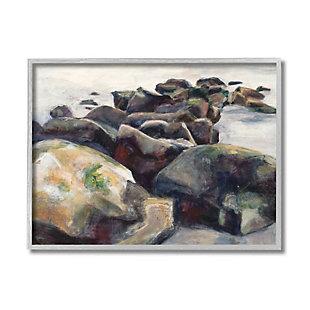 Stupell Industries  Softened Beach Rocks Nautical Coast Line, 16 x 20, Framed Wall Art, Multi, large