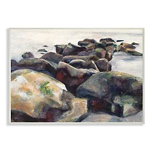 Stupell Industries  Softened Beach Rocks Nautical Coast Line, 13 x 19, Wood Wall Art, Multi, large