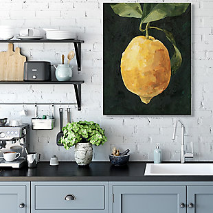 Stupell Industries  Abstract Yellow Lemon on Vine Pop over Black, 36 x 48, Canvas Wall Art, Black, rollover