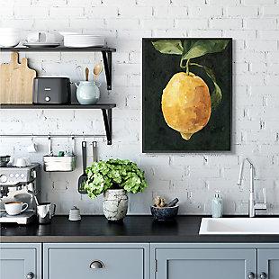 Stupell Industries  Abstract Yellow Lemon on Vine Pop over Black, 24 x 30, Framed Wall Art, Black, rollover