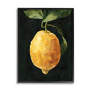 Stupell Industries  Abstract Yellow Lemon on Vine Pop over Black, 24 x 30, Framed Wall Art, Black, large