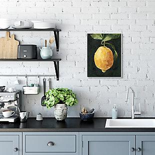 Stupell Industries  Abstract Yellow Lemon on Vine Pop over Black, 13 x 19, Wood Wall Art, Black, rollover