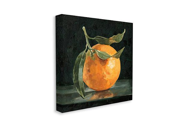 Stupell Industries  Orange Fruit with Stem  Still-Life Pop on Black, 24 x 24, Canvas Wall Art, Black, large