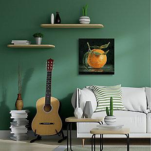 Stupell Industries  Orange Fruit with Stem  Still-Life Pop on Black, 36 x 36, Canvas Wall Art, Black, rollover