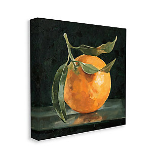 Stupell Industries  Orange Fruit with Stem  Still-Life Pop on Black, 36 x 36, Canvas Wall Art, Black, large