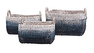 Cascade Woven Water Hyacinth Baskets (Set of 3), , large