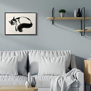 Stupell Industries  Relaxed Pet Cat Bushy Black Tail , 24 x 30, Framed Wall Art, Beige, rollover