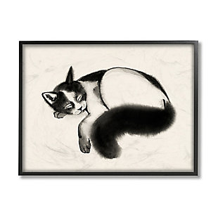 Stupell Industries  Relaxed Pet Cat Bushy Black Tail , 24 x 30, Framed Wall Art, Beige, large