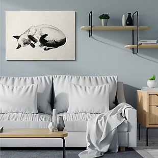 Stupell Industries Siamese Cat Nap Minimal Relaxed Pet, 36 X 48, Canvas Wall Art, Beige, rollover