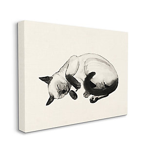 Stupell Industries Siamese Cat Nap Minimal Relaxed Pet, 36 X 48, Canvas Wall Art, Beige, large
