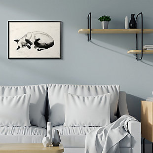 Stupell Industries Siamese Cat Nap Minimal Relaxed Pet, 24 X 30, Framed Wall Art, Beige, rollover