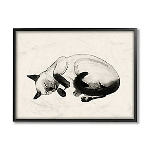 Stupell Industries Siamese Cat Nap Minimal Relaxed Pet, 24 X 30, Framed Wall Art, Beige, large