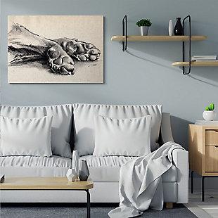 Stupell Industries  Dog Paw Charcoal Design Minimal Tan Black, 36 x 48, Canvas Wall Art, Tan, rollover
