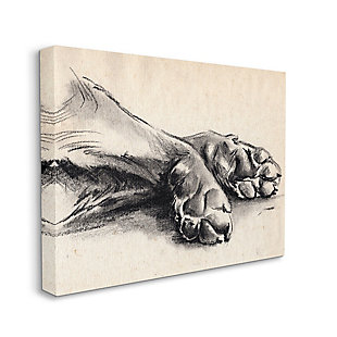 Stupell Industries  Dog Paw Charcoal Design Minimal Tan Black, 36 x 48, Canvas Wall Art, Tan, large