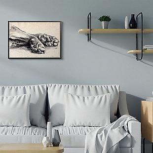 Stupell Industries  Dog Paw Charcoal Design Minimal Tan Black, 24 x 30, Framed Wall Art, Tan, rollover