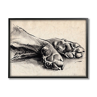 Stupell Industries  Dog Paw Charcoal Design Minimal Tan Black, 24 x 30, Framed Wall Art, Tan, large