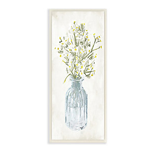 Stupell Industries  Quaint White Daisies in Blue Glass Jar, 7 x 17, Wood Wall Art, , large