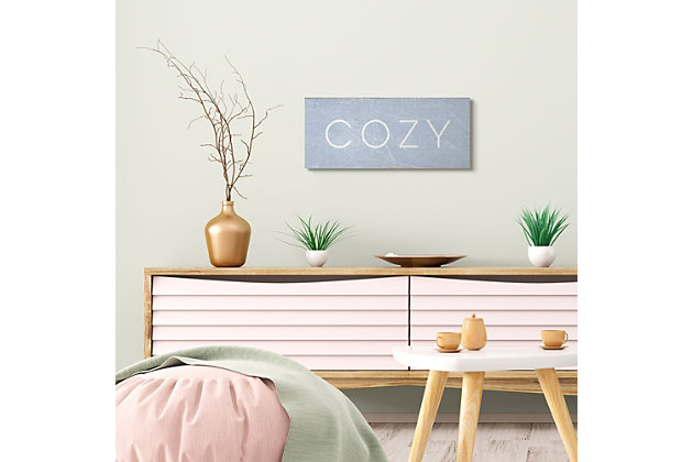 Stupell Industries Cozy Text Charming Distressed Blue Paint, 10 X 24, Canvas Wall Art, Blue, large