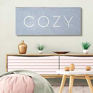 Stupell Industries Cozy Text Charming Distressed Blue Paint, 20 X 48, Canvas Wall Art, Blue, rollover