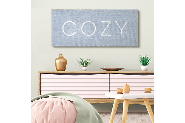 Stupell Industries Cozy Text Charming Distressed Blue Paint, 20 X 48, Canvas Wall Art, Blue, large