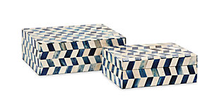 Home Accents Marine Blue Bone Boxes (Set of 2), , rollover