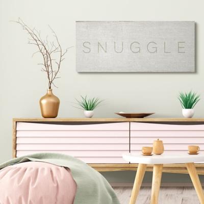 Stupell Industries Snuggle Text Minimal Distressed Beige Paint, 17 X 40, Canvas Wall Art, Beige, large