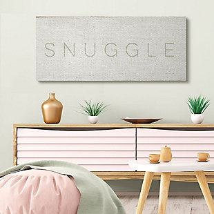 Stupell Industries Snuggle Text Minimal Distressed Beige Paint, 20 X 48, Canvas Wall Art, Beige, rollover