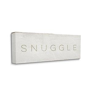 Stupell Industries Snuggle Text Minimal Distressed Beige Paint, 20 X 48, Canvas Wall Art, Beige, large