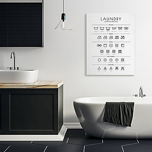 Stupell Industries  Laundry Cleaning Symbols Minimal Design, 36 x 48, Canvas Wall Art, White, rollover