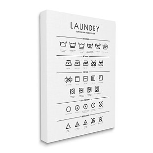 Stupell Industries  Laundry Cleaning Symbols Minimal Design, 36 x 48, Canvas Wall Art, White, large