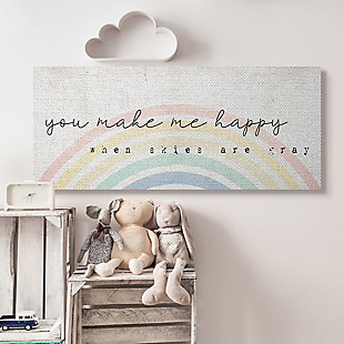 Stupell Industries  You Make Me Happy Quote Rustic Rainbow Arches, 20 x 48, Canvas Wall Art, Off White, rollover