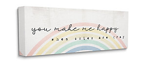 Stupell Industries  You Make Me Happy Quote Rustic Rainbow Arches, 20 x 48, Canvas Wall Art, Off White, large
