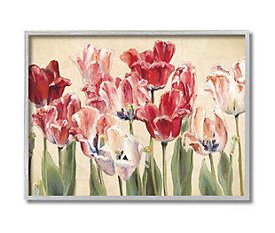 Stupell Industries  Red and White Blooming Florals Charming Tulips, 16 x 20, Framed Wall Art, Yellow, large